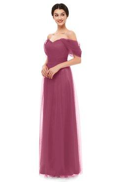ColsBM Haven Rose Wine Bridesmaid Dresses Zip up Off The Shoulder Sexy Floor Length Short Sleeve A-line