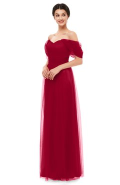 ColsBM Haven Salsa Bridesmaid Dresses Zip up Off The Shoulder Sexy Floor Length Short Sleeve A-line