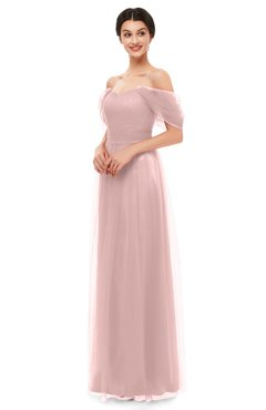 ColsBM Haven Silver Pink Bridesmaid Dresses Zip up Off The Shoulder Sexy Floor Length Short Sleeve A-line