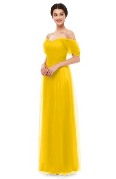 ColsBM Haven Yellow Bridesmaid Dresses Zip up Off The Shoulder Sexy Floor Length Short Sleeve A-line