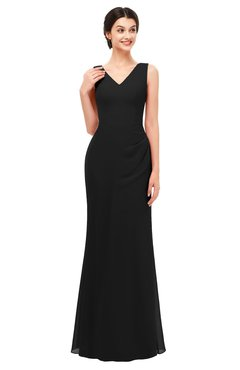 ColsBM Regina Black Bridesmaid Dresses Mature V-neck Sleeveless Buttons Zip up Floor Length