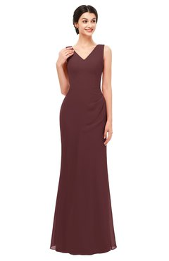 ColsBM Regina Burgundy Bridesmaid Dresses Mature V-neck Sleeveless Buttons Zip up Floor Length