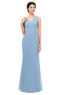 6e0c0c667d9 ColsBM Regina Dusty Blue Bridesmaid Dresses Mature V-neck Sleeveless  Buttons Zip up Floor Length