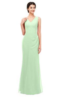 88b750780a ColsBM Regina Light Green Bridesmaid Dresses Mature V-neck Sleeveless  Buttons Zip up Floor Length
