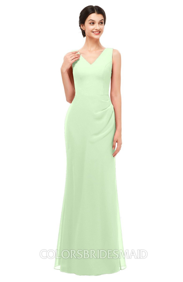 a61ccdbfef2b ColsBM Regina Pale Green Bridesmaid Dresses Mature V-neck Sleeveless  Buttons Zip up Floor Length
