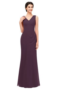 ColsBM Regina Plum Bridesmaid Dresses Mature V-neck Sleeveless Buttons Zip up Floor Length