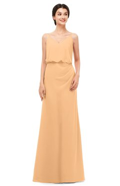 ColsBM Sasha Apricot Bridesmaid Dresses Column Simple Floor Length Sleeveless Zip up V-neck