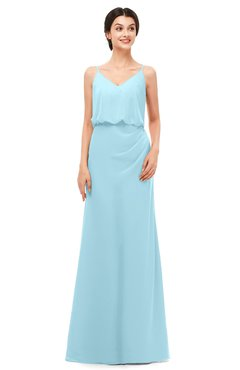 ColsBM Sasha Aqua Bridesmaid Dresses Column Simple Floor Length Sleeveless Zip up V-neck
