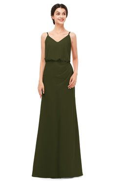 ColsBM Sasha Beech Bridesmaid Dresses Column Simple Floor Length Sleeveless Zip up V-neck
