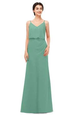 ColsBM Sasha Beryl Green Bridesmaid Dresses Column Simple Floor Length Sleeveless Zip up V-neck