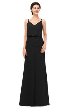 ColsBM Sasha Black Bridesmaid Dresses Column Simple Floor Length Sleeveless Zip up V-neck