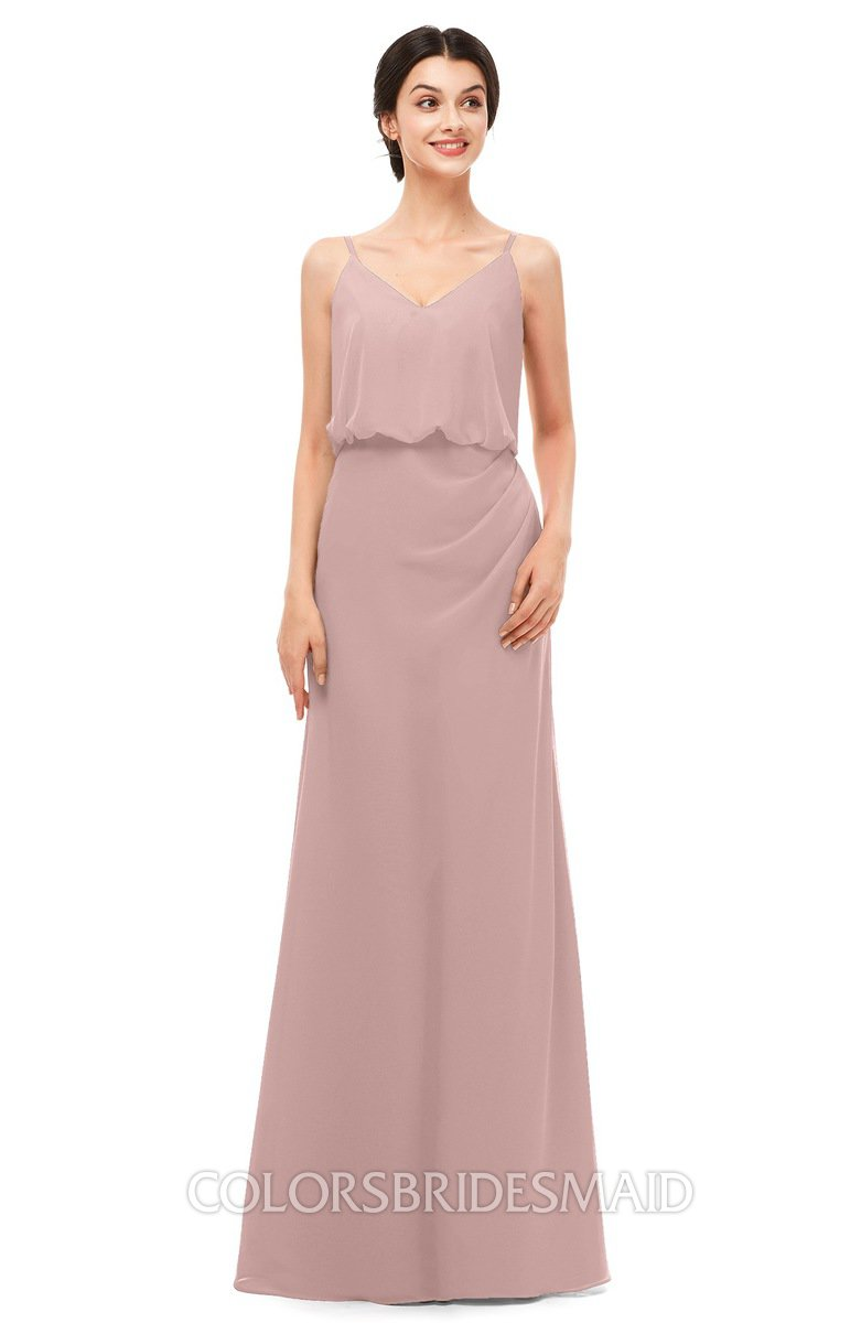 61fa780710 ColsBM Sasha Blush Pink Bridesmaid Dresses Column Simple Floor Length Sleeveless  Zip up V-neck