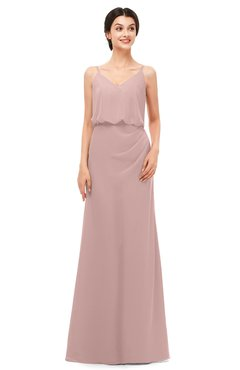 ColsBM Sasha Blush Pink Bridesmaid Dresses Column Simple Floor Length Sleeveless Zip up V-neck