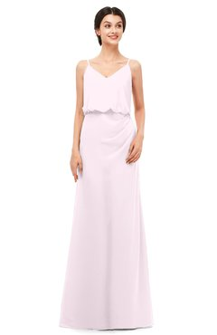 ColsBM Sasha Blush Bridesmaid Dresses Column Simple Floor Length Sleeveless Zip up V-neck