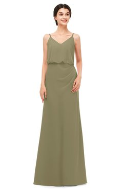 ColsBM Sasha Boa Bridesmaid Dresses Column Simple Floor Length Sleeveless Zip up V-neck