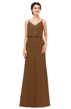 ColsBM Sasha Brown Bridesmaid Dresses Column Simple Floor Length Sleeveless Zip up V-neck