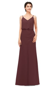ColsBM Sasha Burgundy Bridesmaid Dresses Column Simple Floor Length Sleeveless Zip up V-neck