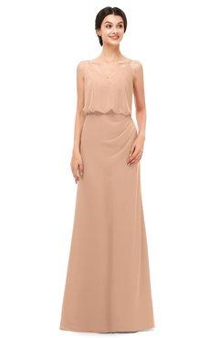 ColsBM Sasha Burnt Orange Bridesmaid Dresses Column Simple Floor Length Sleeveless Zip up V-neck