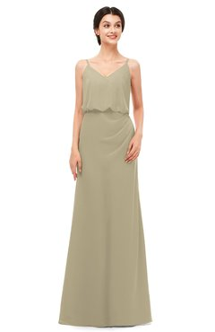 ColsBM Sasha Candied Ginger Bridesmaid Dresses Column Simple Floor Length Sleeveless Zip up V-neck
