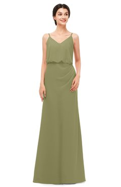 ColsBM Sasha Cedar Bridesmaid Dresses Column Simple Floor Length Sleeveless Zip up V-neck