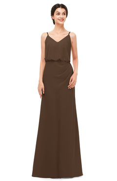 ColsBM Sasha Chocolate Brown Bridesmaid Dresses Column Simple Floor Length Sleeveless Zip up V-neck