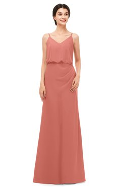 ColsBM Sasha Crabapple Bridesmaid Dresses Column Simple Floor Length Sleeveless Zip up V-neck