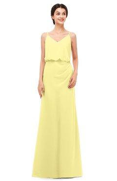 ColsBM Sasha Daffodil Bridesmaid Dresses Column Simple Floor Length Sleeveless Zip up V-neck