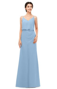 ColsBM Sasha Dusty Blue Bridesmaid Dresses Column Simple Floor Length Sleeveless Zip up V-neck