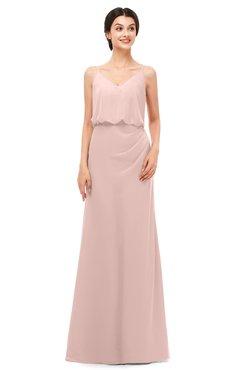 ColsBM Sasha Dusty Rose Bridesmaid Dresses Column Simple Floor Length Sleeveless Zip up V-neck