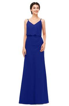 ColsBM Sasha Electric Blue Bridesmaid Dresses Column Simple Floor Length Sleeveless Zip up V-neck