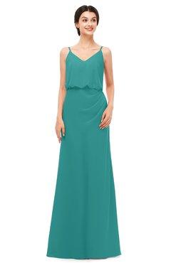 ColsBM Sasha Emerald Green Bridesmaid Dresses Column Simple Floor Length Sleeveless Zip up V-neck