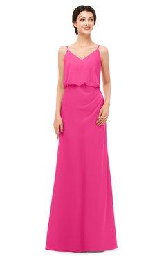 ColsBM Sasha Fandango Pink Bridesmaid Dresses Column Simple Floor Length Sleeveless Zip up V-neck