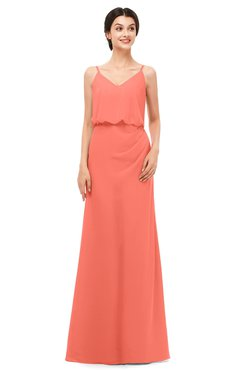 ColsBM Sasha Fusion Coral Bridesmaid Dresses Column Simple Floor Length Sleeveless Zip up V-neck
