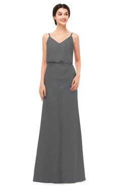 ColsBM Sasha Grey Bridesmaid Dresses Column Simple Floor Length Sleeveless Zip up V-neck