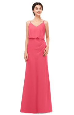 ColsBM Sasha Guava Bridesmaid Dresses Column Simple Floor Length Sleeveless Zip up V-neck