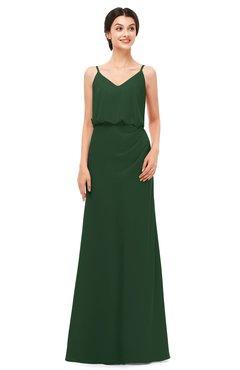ColsBM Sasha Hunter Green Bridesmaid Dresses Column Simple Floor Length Sleeveless Zip up V-neck