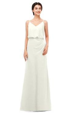 ColsBM Sasha Ivory Bridesmaid Dresses Column Simple Floor Length Sleeveless Zip up V-neck