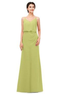 ColsBM Sasha Linden Green Bridesmaid Dresses Column Simple Floor Length Sleeveless Zip up V-neck