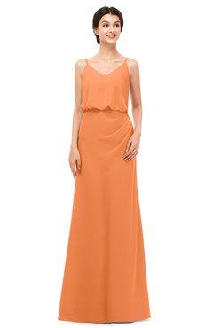 ColsBM Sasha Mango Bridesmaid Dresses Column Simple Floor Length Sleeveless Zip up V-neck