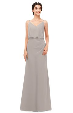 ColsBM Sasha Mushroom Bridesmaid Dresses Column Simple Floor Length Sleeveless Zip up V-neck