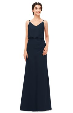 ColsBM Sasha Navy Blue Bridesmaid Dresses Column Simple Floor Length Sleeveless Zip up V-neck