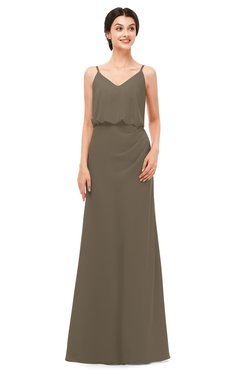ColsBM Sasha Otter Bridesmaid Dresses Column Simple Floor Length Sleeveless Zip up V-neck
