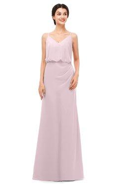ColsBM Sasha Pale Lilac Bridesmaid Dresses Column Simple Floor Length Sleeveless Zip up V-neck