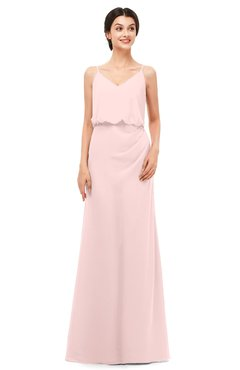 ColsBM Sasha Pastel Pink Bridesmaid Dresses Column Simple Floor Length Sleeveless Zip up V-neck