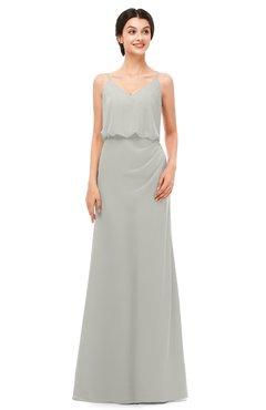 ColsBM Sasha Platinum Bridesmaid Dresses Column Simple Floor Length Sleeveless Zip up V-neck