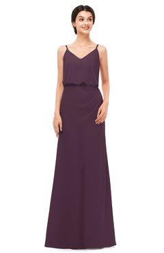 ColsBM Sasha Plum Bridesmaid Dresses Column Simple Floor Length Sleeveless Zip up V-neck