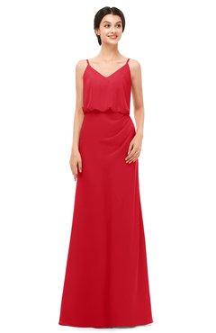 ColsBM Sasha Red Bridesmaid Dresses Column Simple Floor Length Sleeveless Zip up V-neck