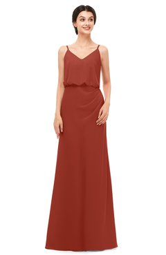 ColsBM Sasha Rust Bridesmaid Dresses Column Simple Floor Length Sleeveless Zip up V-neck