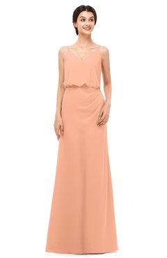 ColsBM Sasha Salmon Bridesmaid Dresses Column Simple Floor Length Sleeveless Zip up V-neck
