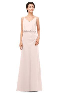 ColsBM Sasha Silver Peony Bridesmaid Dresses Column Simple Floor Length Sleeveless Zip up V-neck